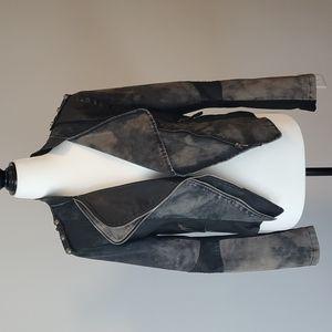 Washed denim and Pleather Moto Jacket Size M